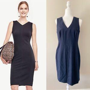 Ann Taylor Black V-Neck Ponte Seamed Sheath Dress